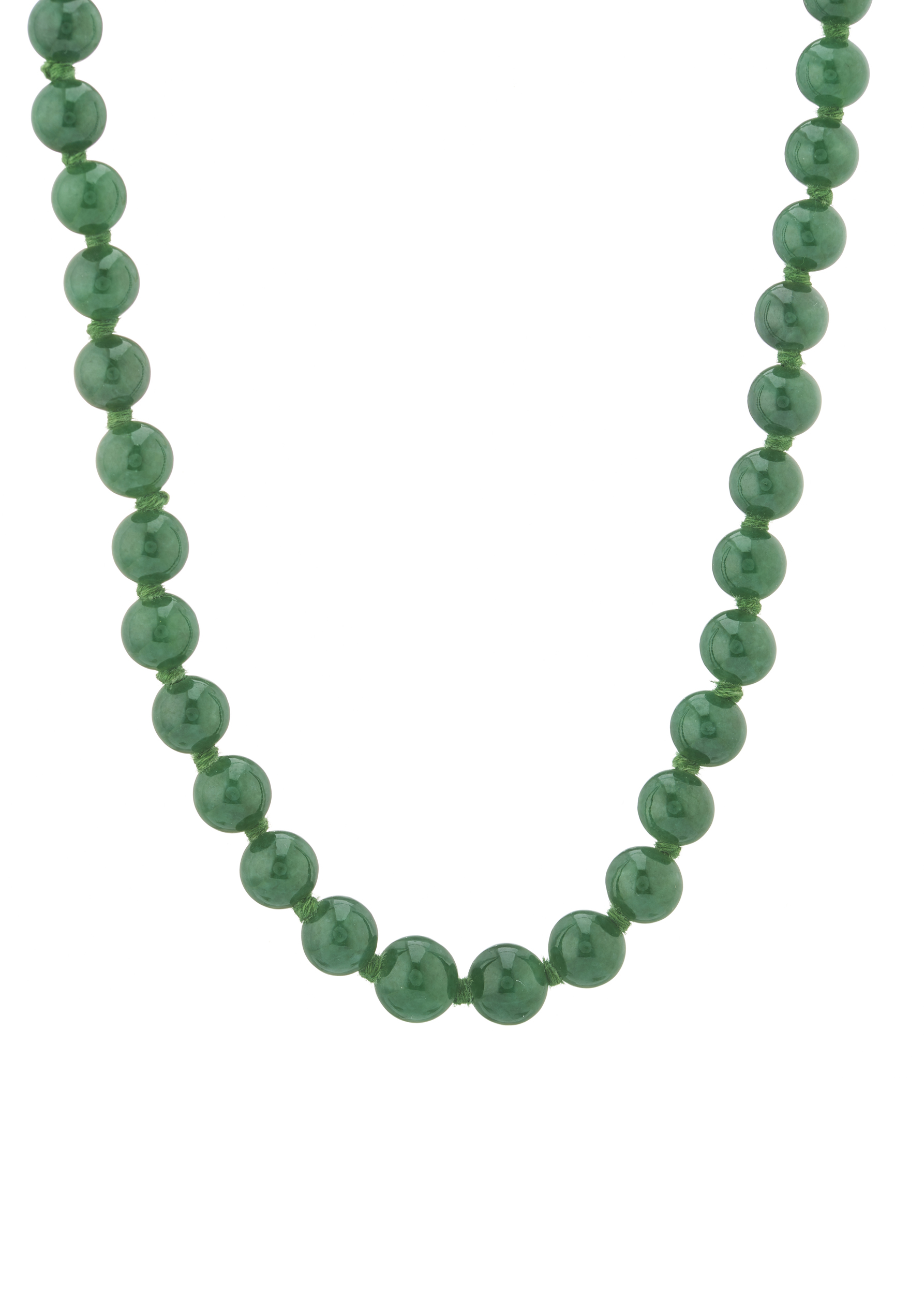 A natural jadeite jade bead necklace, with 9ct gold clasp