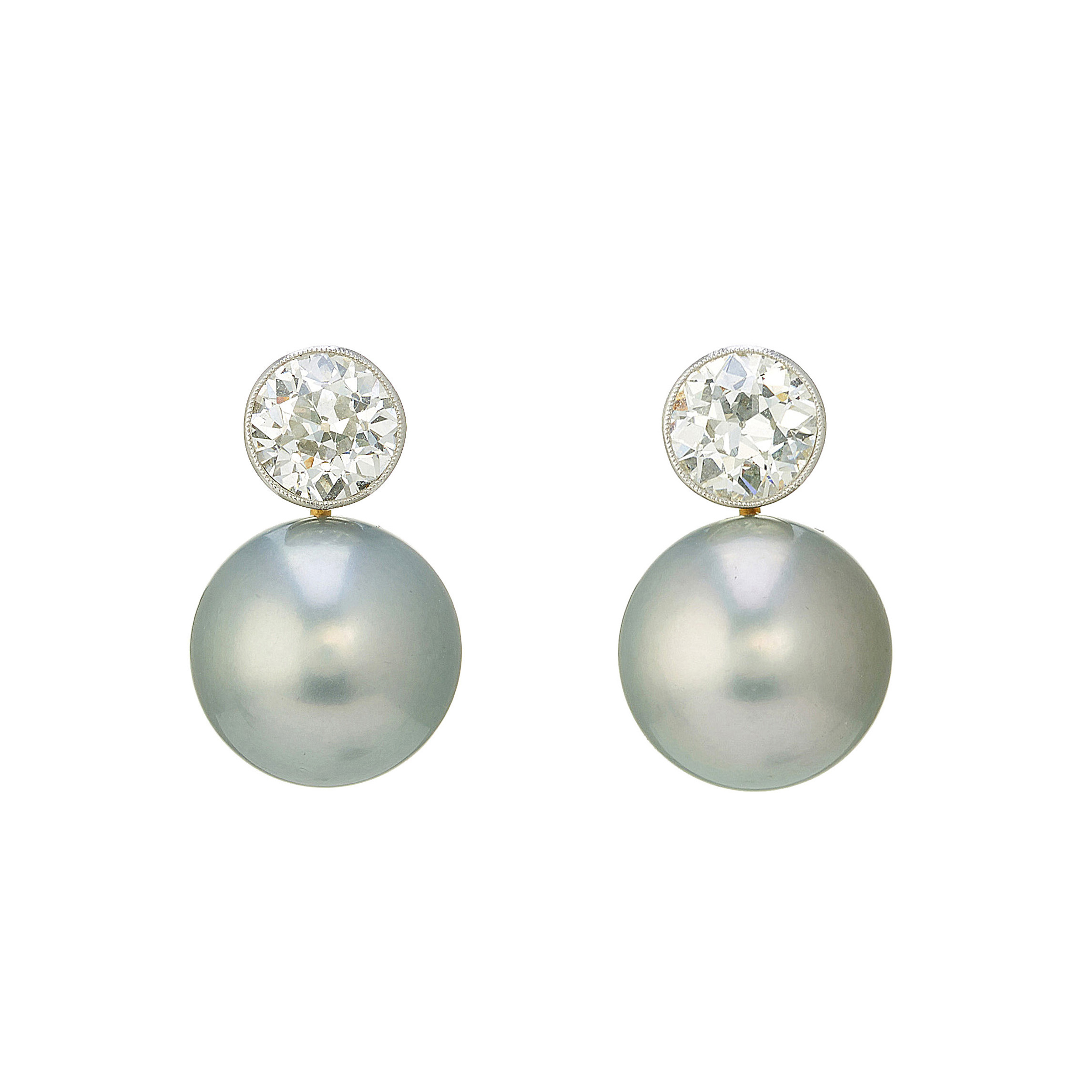 A pair of diamond and South Sea cultured pearl earrings