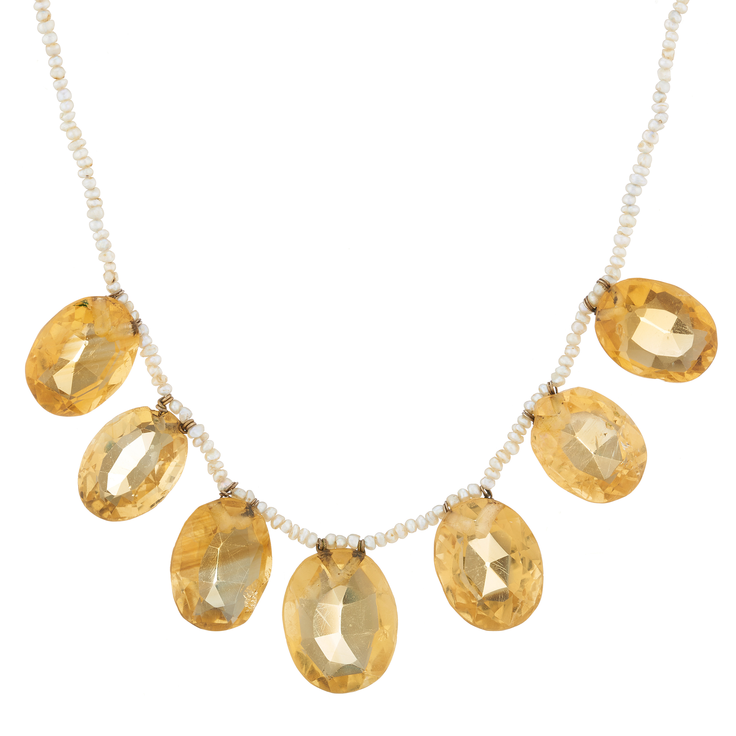 An early 20th century citrine and seed pearl fringe necklace, with gold clasp