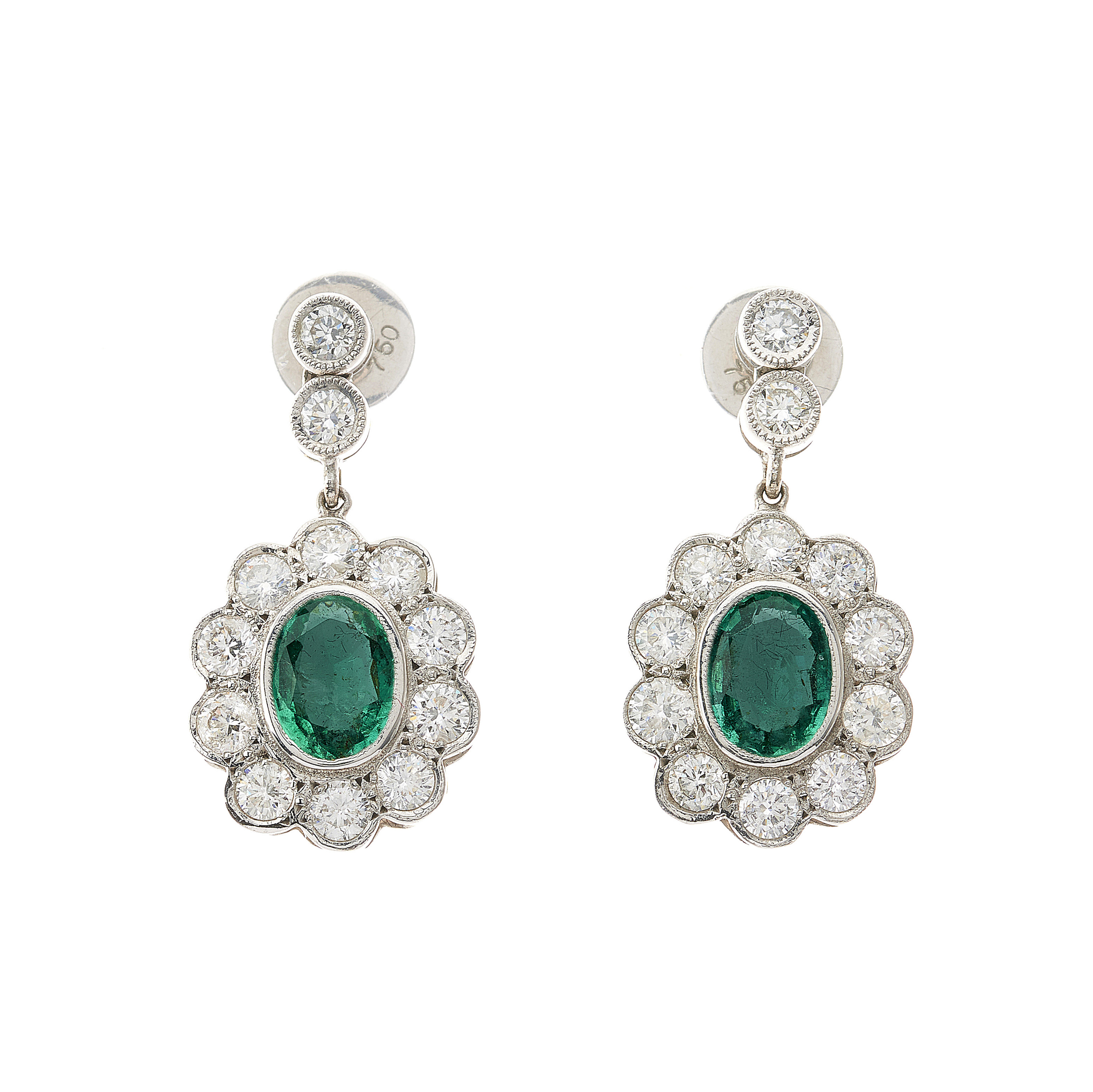 A pair of 18ct gold emerald and diamond cluster drop earrings
