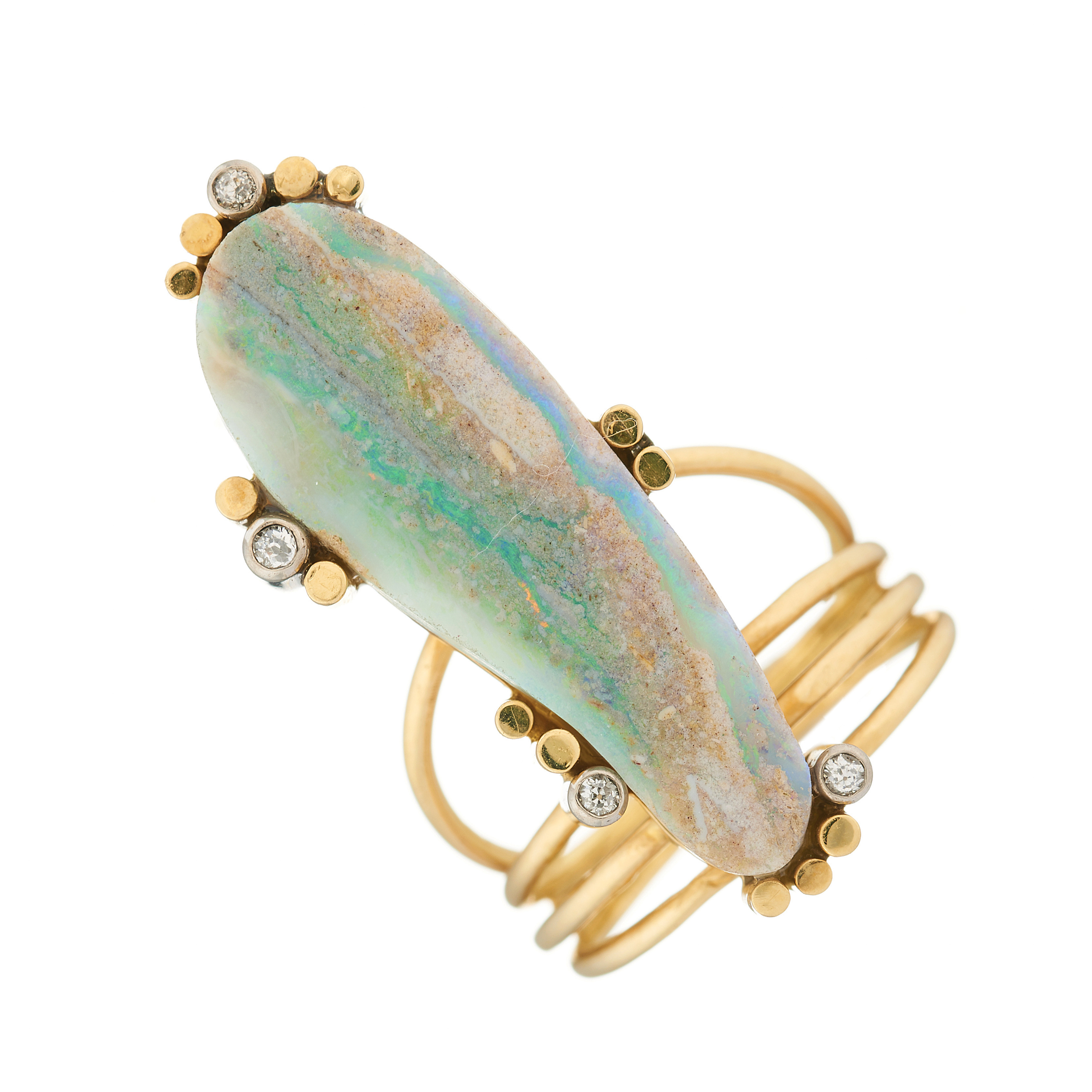 A mid 20th century 18ct gold boulder opal and diamond dress ring