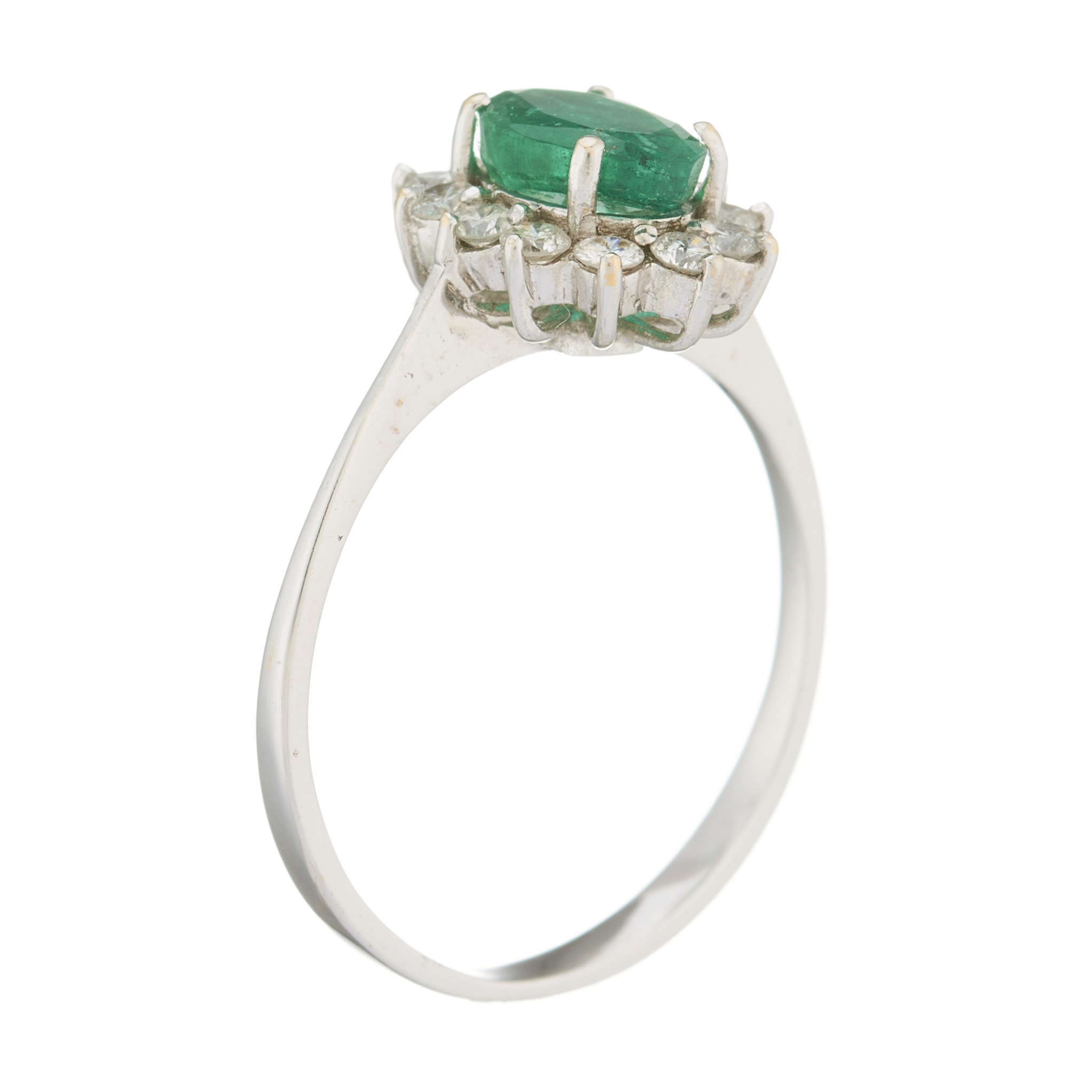 An 18ct gold emerald and diamond cluster ring - Image 2 of 2