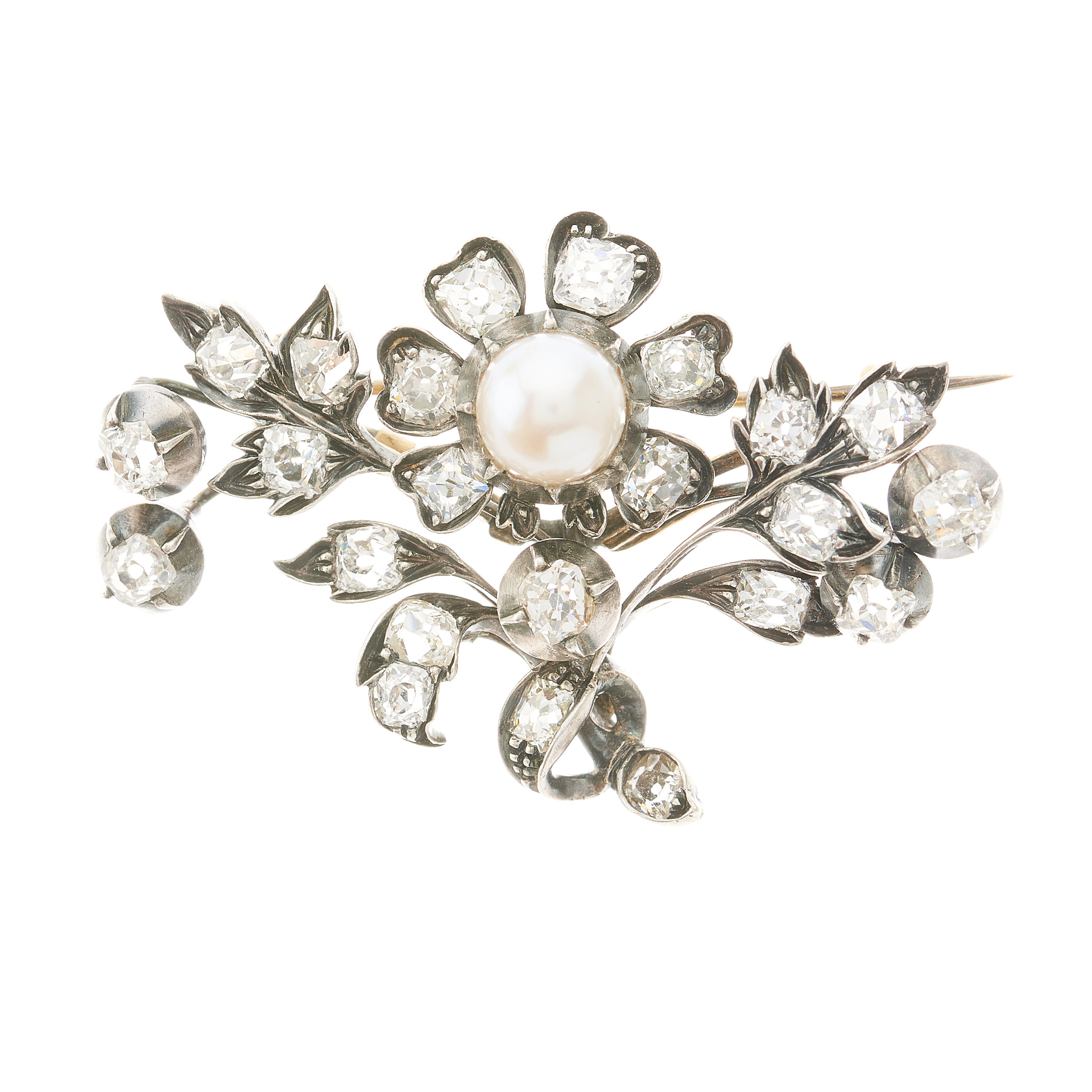 A 19th century French silver and gold, pearl and old-cut diamond floral brooch
