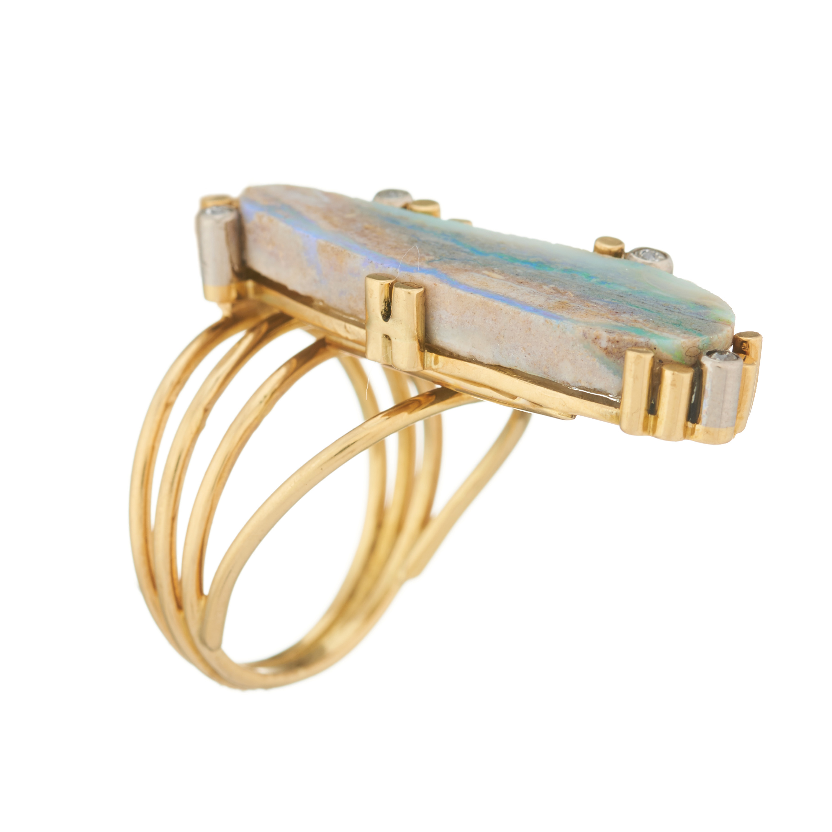 A mid 20th century 18ct gold boulder opal and diamond dress ring - Image 2 of 2
