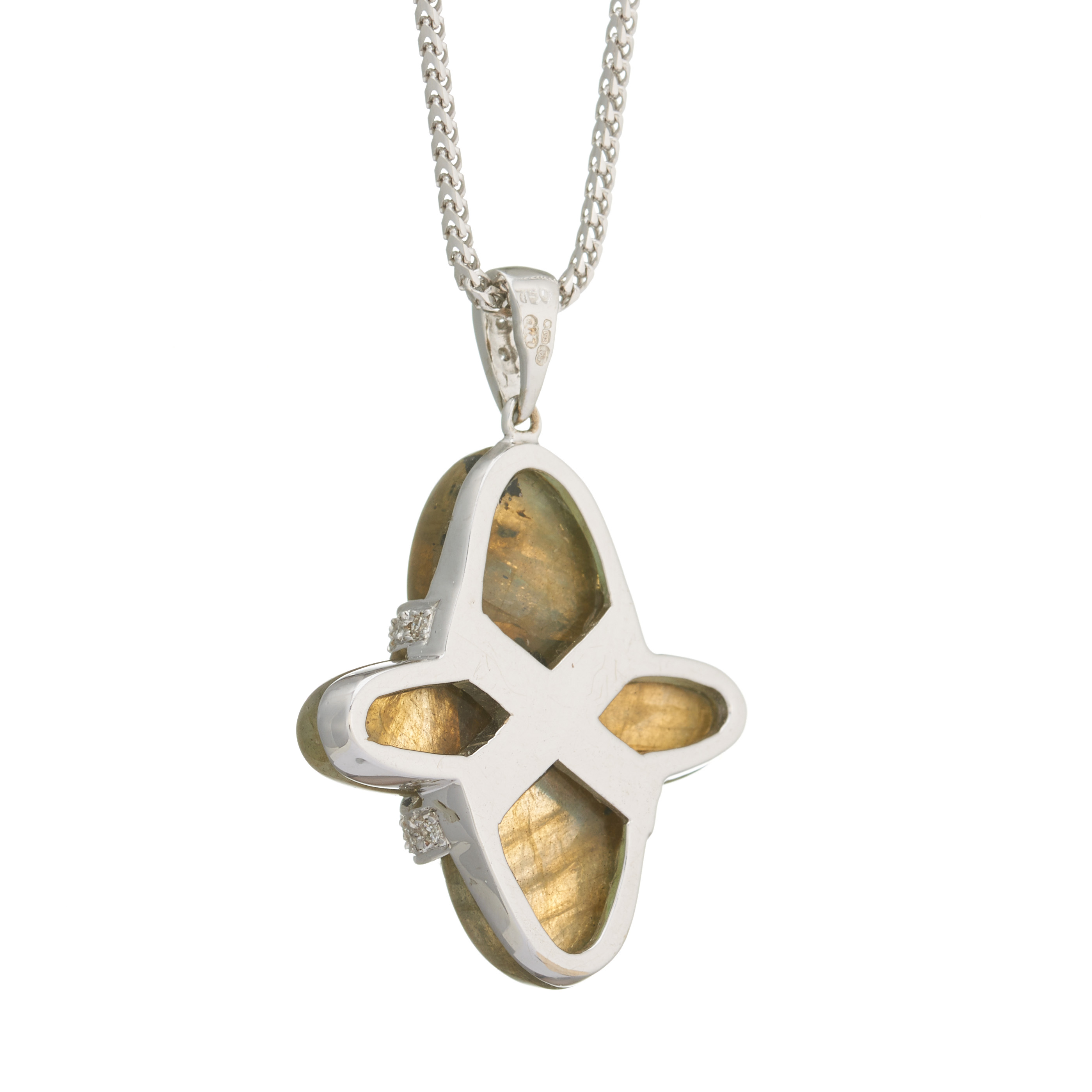 An 18ct gold labradorite and diamond cross necklace - Image 2 of 2