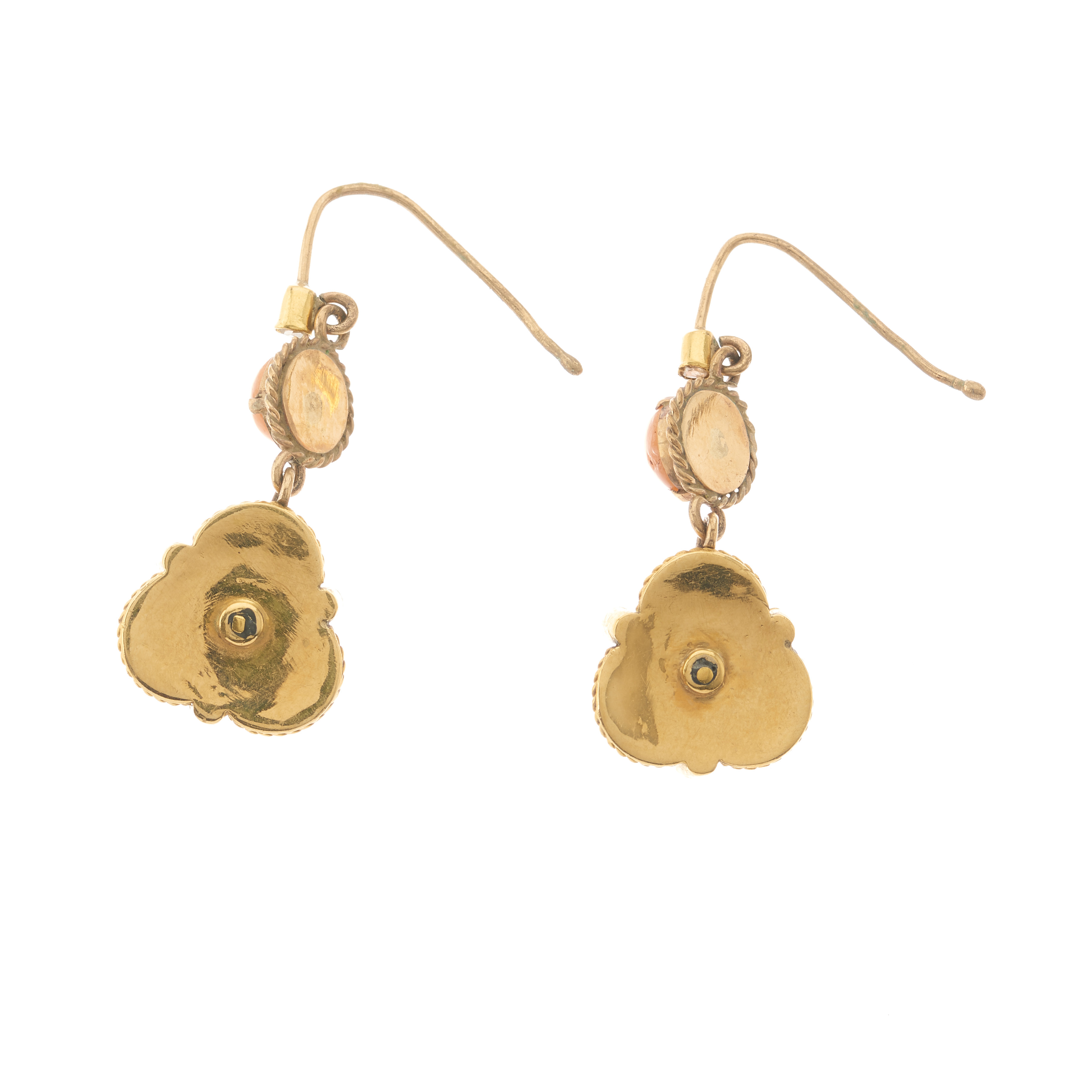 A pair of late 19th century gold, coral and diamond drop earrings - Image 2 of 2