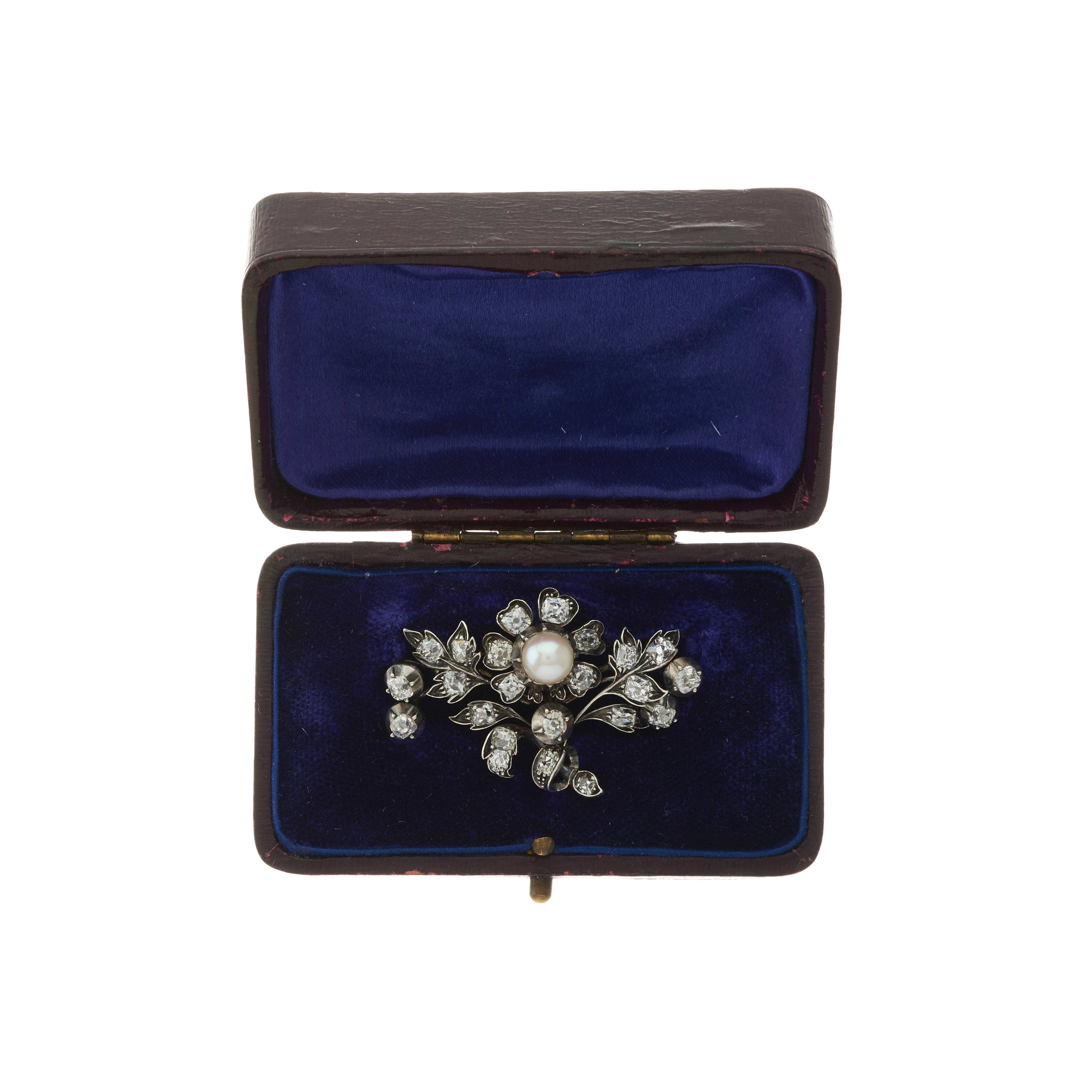A 19th century French silver and gold, pearl and old-cut diamond floral brooch - Image 3 of 3