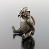 An Edwardian novelty silver articulated teddy bear pin cushion, H V Pithey & Co, Birmingham 1909,