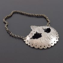 A George III Irish silver wine label for Port, John Rice, Dublin circa 1800, open pierced garland