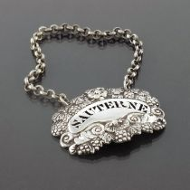 A William IV silver wine label for Sauterne, Willi