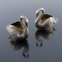 A pair of Hanau silver swan salt cellars, French import marks circa 1970s