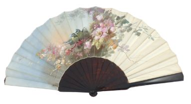 Billotey: A fine 19th century, 1885 – 1900, fan, delicately painted on silk satin, mounted on sturdy
