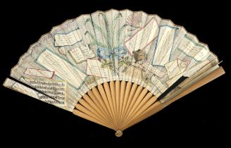 A late 18th century Conundrum fan, dated 1791, the simple monture of pale wood, the guards polished,