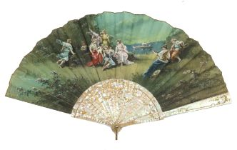 A last quarter 19th century painted fan, the double silk leaf mounted on pink Mother of Pearl, the g