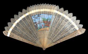 A circa 1820's horn 4-way brisé fan, barrel rivet, the sticks pointed, the guards set with purple st