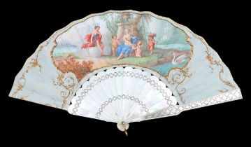 A last quarter 19th century white Mother of Pearl fan, gilded and silvered with a decorative lattice