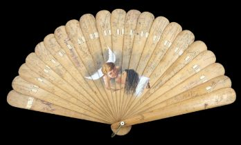 A very late 19th century wood brisé autograph fan, painted centrally with an angel visiting a lady,