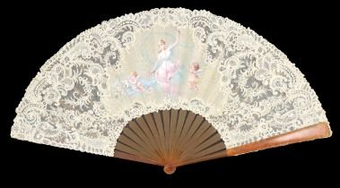 An exquisite, large, Brussels Point de Gaze needle lace fan mounted on blonde tortoiseshell or resin