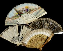 Damaged 18th/19th/ and 20th c fans and parts for repairs, to include two 18th century bone fans, a s