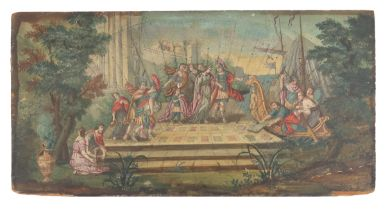 An 18th century extended fan leaf mounted on wood, showing the mythological scene of Helen, said to