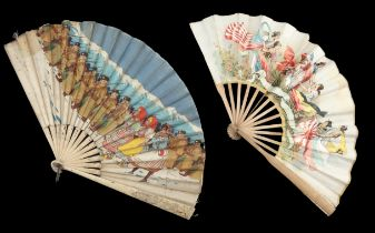 Military fans: Two fans produced in France, both with simple wood montures, the first with printed s