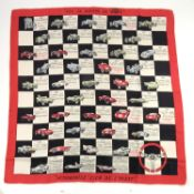"""Rare vintage French automobile silk scarf entitled """"Les 24 Heures du Mans"""", printed for the """"Automob"""