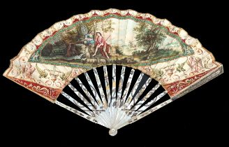 A final quarter 18th century Mother of Pearl fan, the monture silvered and gilded, the upper guards