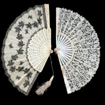 Four lace fans, dating from the 1880's to the 1920's, to include a bone fan with cream silk leaf, th