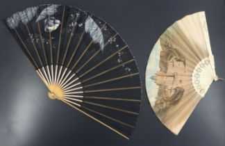 A c 1870's fan with bone monture and fabric leaf printed with a scene of St Pietro Di Roma (St Peter