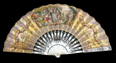 A mid-19th century white Mother of Pearl fan, the sticks gilded and silvered with flowers, the doubl
