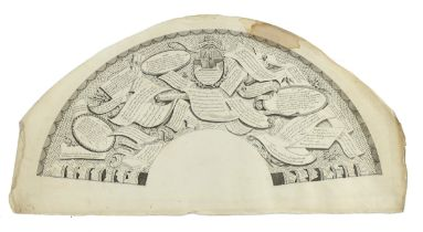 Vive La Bagatelle, an original 18th century unframed and unmounted fan leaf printed in black with ri