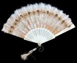 An 1880's bone autograph fan, the monture lightly incised with a regular design, the recto applied w