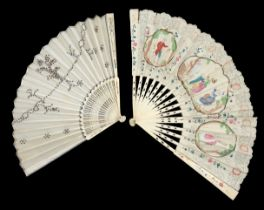 A mid to late 18th century decoupé fan, the paper leaf mounted on bone, the guards painted with flow