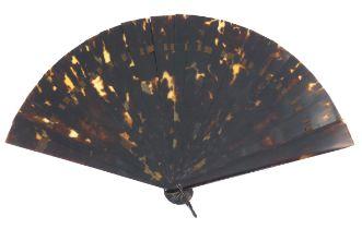 A sturdy circa 1880's tortoiseshell brisé fan, quite dark with good mottling, the sixteen inner stic