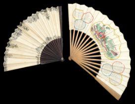 "A French revolutionary period hand coloured fan entitled ""La Coquette du Village"", with a central sc"