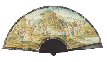 Moses striking the Rock: An 18th century vellum fan, the leaf mounted à l'Anglaise on tortoiseshell,