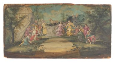 An 18th century extended fan leaf mounted on wood, a French stock label on the verso, depicting the