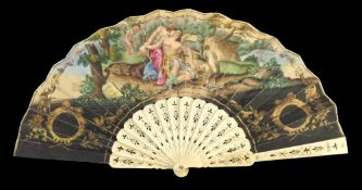 The Death of Adonis/ Madrid Esposicion Agricultura 1867: a bone fan circa 1867