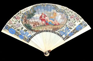 A vibrantly painted gorge section of an 18th century ivory fan, converted into a brisé by means of r