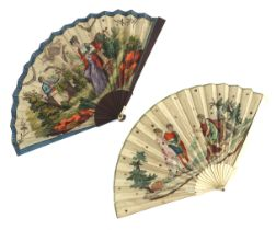 A small c 1820's printed fan, the double paper leaf mounted on unadorned bone, possibly depicting Th