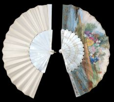 Two c 1860's white mother of pearl fans, the first with gilding and silvering to the monture, the gu