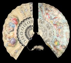 A bone fan circa 1860's, the monture carved, pierced and silvered with an unusual shape to the lower