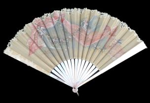 A good very pale pink Mother of Pearl fan c 1890's, the double leaf with upper layer of cream silk g