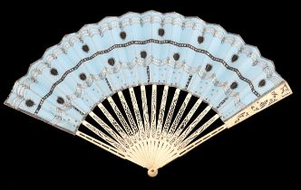 An elegant mid-18th century bone fan, the monture carved and pierced, the gorge sticks mainly in pai