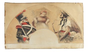 An unmounted and unused fan leaf on a Military theme, much in the style of G. Redon but signed by hi