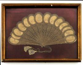 Chemin de Croix: Seldom found on the market, a small pressed and decoratively pierced card brisé fan