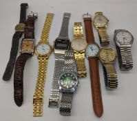 A collection of wristwatches to include an Omega Seamaster quartz, Rotary, Zeon, Lanco, Le Cheminant