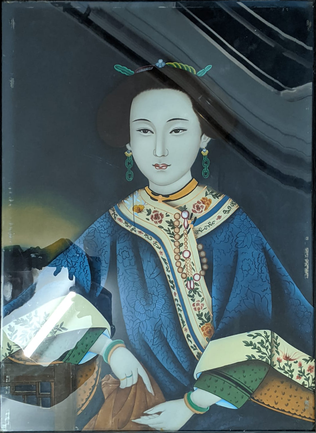 A 19th century Chinese reverse glass painting of a lady, H.59cm W.43cm