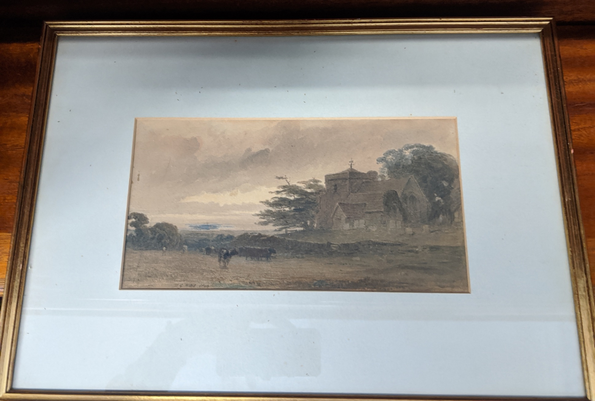 Henry George Hine (British, 1811-1895), A Sussex Church Scene, watercolour, siged lower left H.G. - Image 3 of 3
