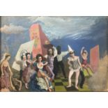 Attributed to Rex John Whistler (British, 1905-1944), Commedia dell Arte, oil on board with a